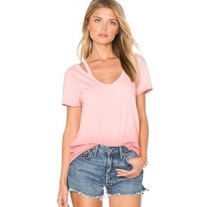 Pam & Gela Pink Ombré V Neck Tee in Sunset NWT